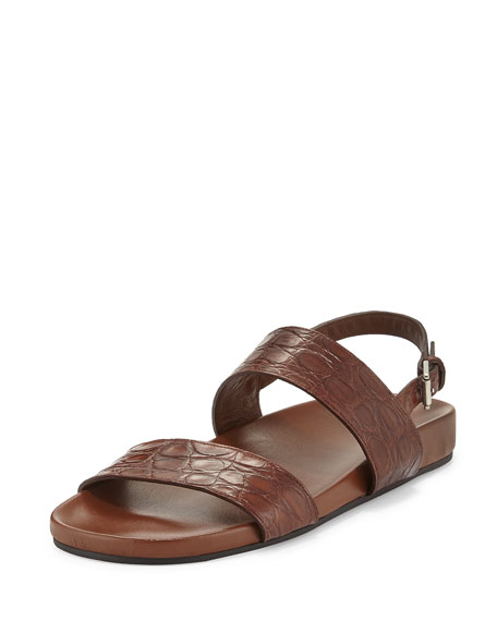 42676e3b32e Gucci Crocodile Two-Strap Sandal