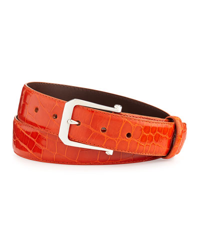 "Glazed Alligator Belt with ""The Paisley"" Buckle, Orange (Made to Order)"