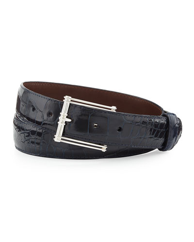 "Glazed Alligator Belt with ""The Chair"" Buckle, Navy (Made to Order)"