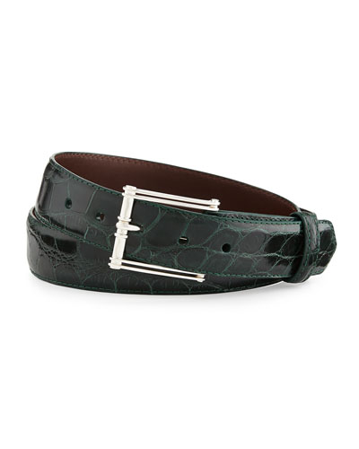 "Glazed Alligator Belt with ""The Chair"" Buckle, Forest Green (Made to Order)"