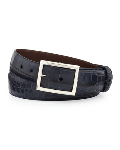 "Matte Alligator Belt with ""Simple Rec"" Buckle, Navy (Made to Order)"
