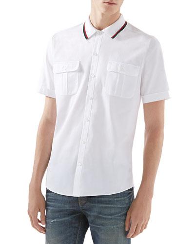Twill Short-Sleeve Duke Shirt with Pique Collar