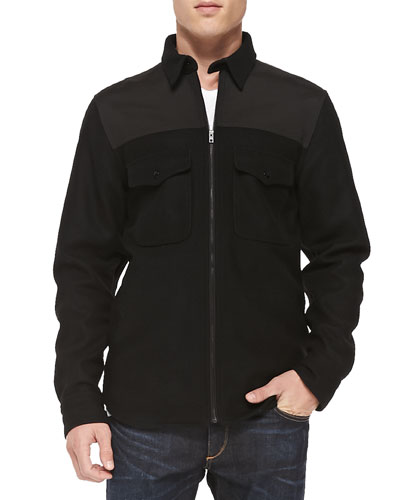 Ginsburg Zip-Front Shirt Jacket, Charcoal
