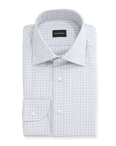 Houndstooth-Check Dress Shirt, Gray