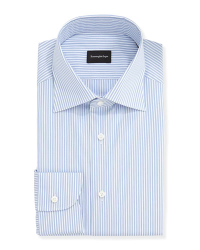 Ground Track-Stripe Dress Shirt, Blue