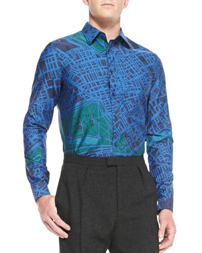 Map-Print Button-Down Shirt, Navy