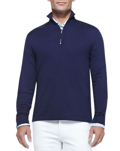 Suede-Yoke Half-Zip Sweater