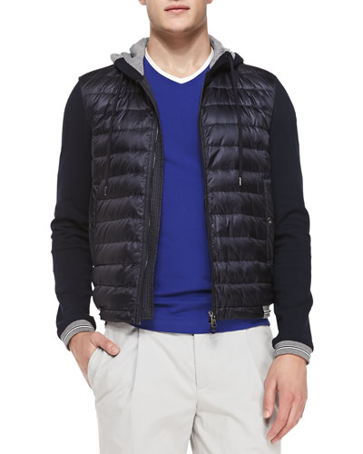 Mixed-Media Quilted-Front Hooded Jacket, Navy