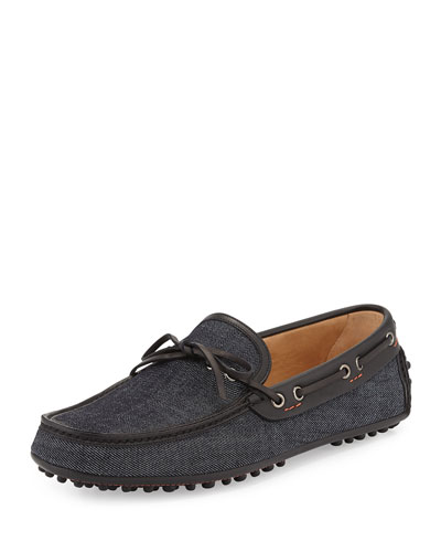 Tie-Front Denim Driving Shoe