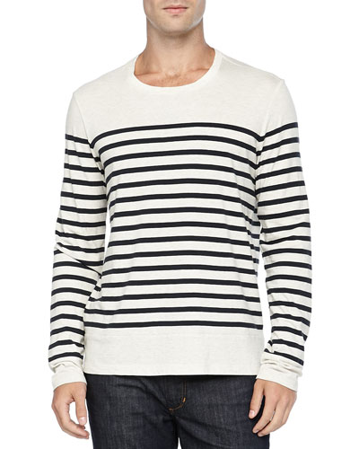 Long-Sleeve Colorblock Striped Tee, White/Navy