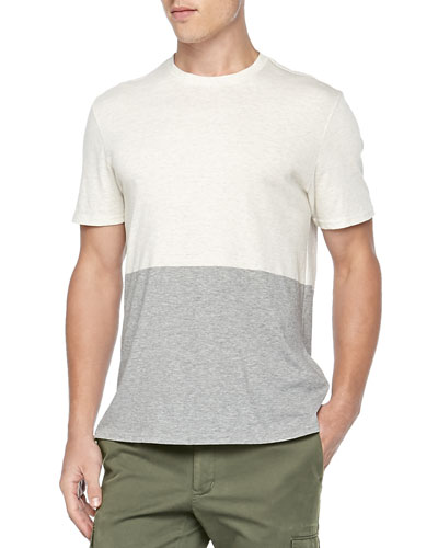 Colorblock Jersey Tee, White/Gray
