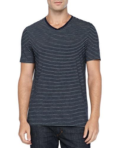 Short-Sleeve Striped Tee, Navy/White