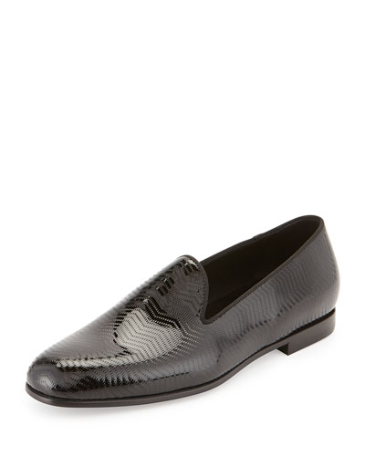 Textured Patent Leather Loafer, Black