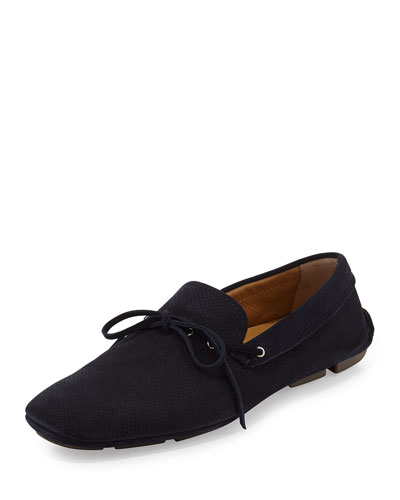Perforated Suede Bow Driver, Navy