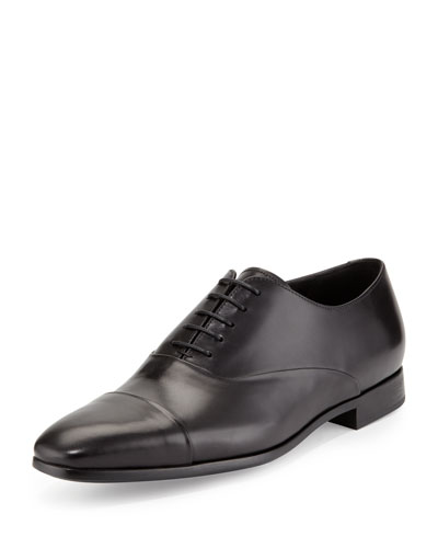 Leather Cap-Toe Oxford, Black
