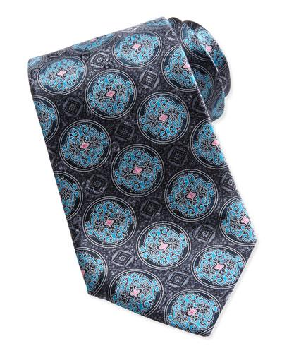 Fancy Circle Medallion Silk Tie, Gray