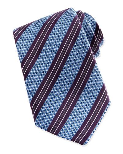 Woven Textured Ground-Stripe Tie, Blue