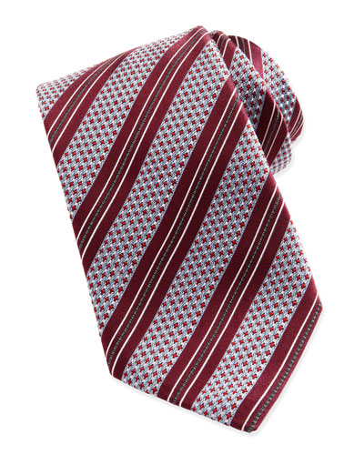 Woven Textured Ground-Stripe Tie, Berry