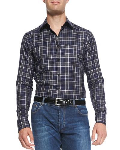 Check Button-Down Shirt, Navy/Ivory