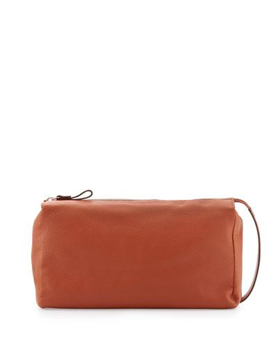 Pebbled Leather Toiletry Bag, Orange