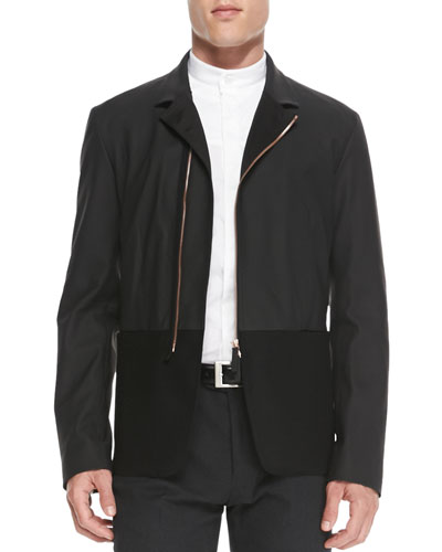 Leather and Wool Zip Jacket, Black