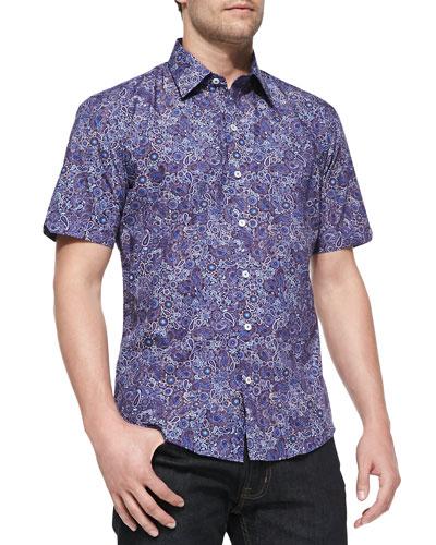 Paisley and Floral-Print Short Sleeve Shirt, Purple