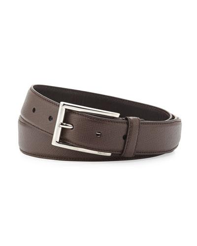 Saffiano Rectangle-Buckle Belt, Brown