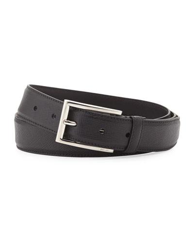 Saffiano Rectangle-Buckle Belt, Black