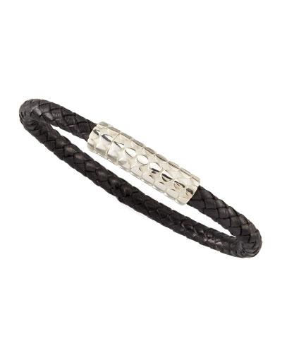 Dot Braided Leather Men's Bracelet, Black