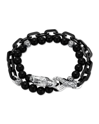 Naga Black Onyx Stainless Steel Double-Wrap Link Bracelet