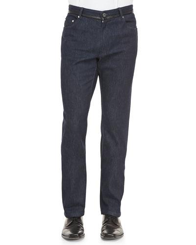 Denim Jeans with Leather Trim, Navy