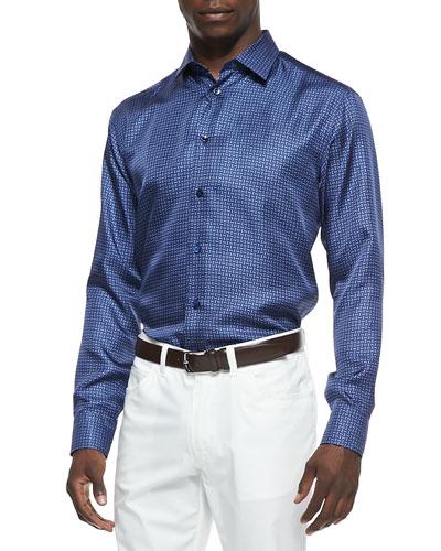 Mini-Neat Silk Button-Down Shirt, Navy