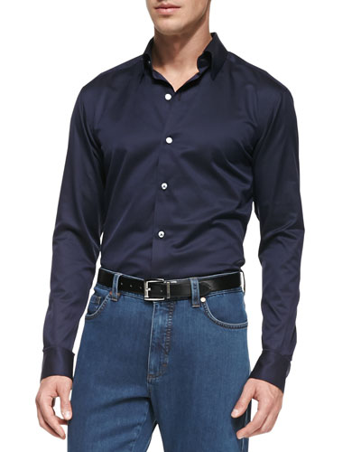 Solid Woven Button-Down Shirt, Navy