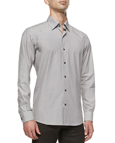Check Woven Casual Shirt, Brown