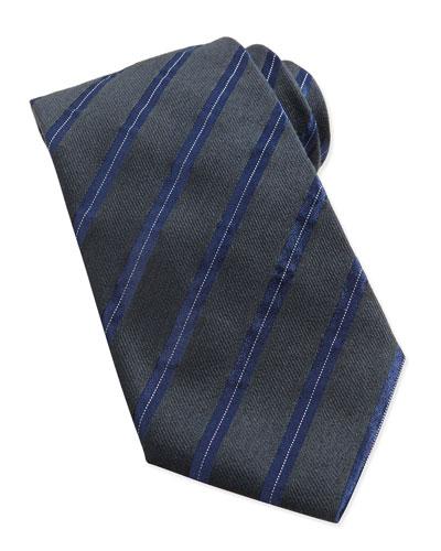 Heathered Twill Stripe Tie, Green/Navy