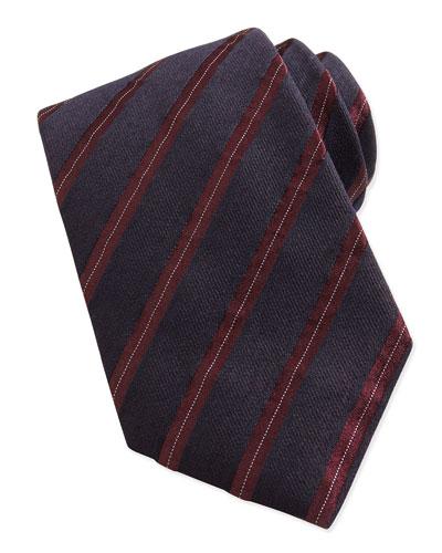 Heathered Twill Stripe Tie, Navy