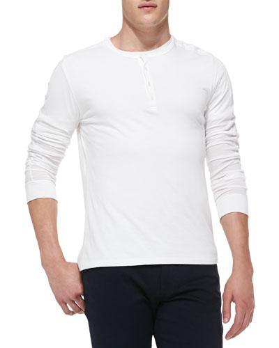 Long-Sleeve Jersey Henley, White