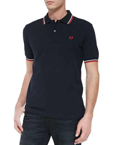 Twin-Tipped Polo Shirt, Navy/Red/White