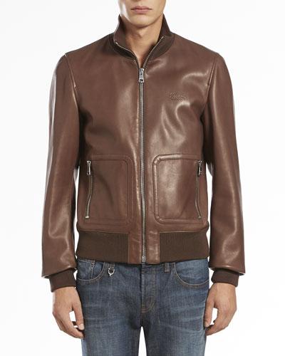 Plonge Leather Bomber Jacket, Brown