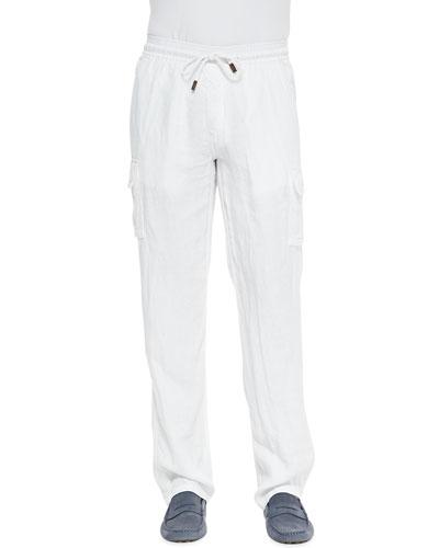 Linen Cargo Pants, White
