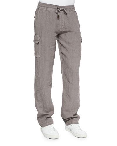 Linen Cargo Pants, Med Brown