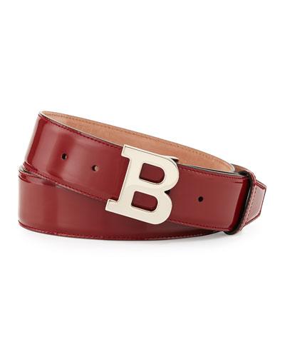Patent B-Buckle Belt, Red