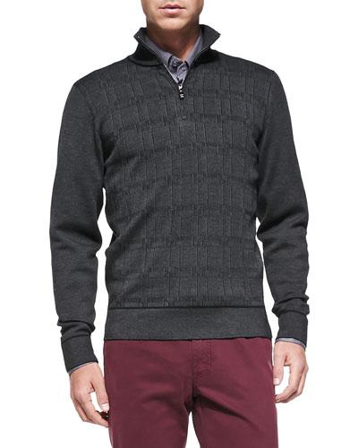 Textured 1/2-Zip Sweater, Gray