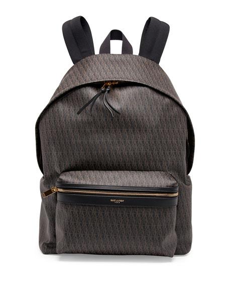 07eb12574e ... saint lau men s ysl logo printed leather backpack black ...