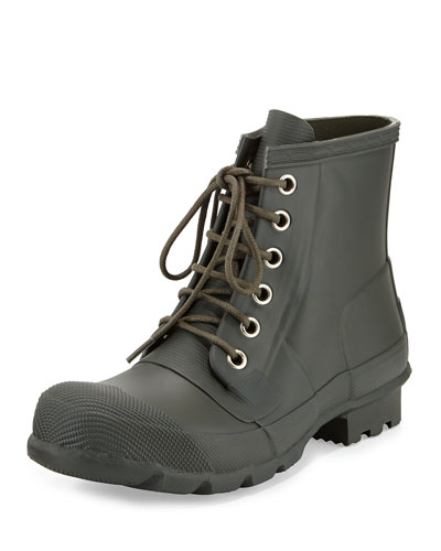 Short Lace-Up Welly Boot, Olive