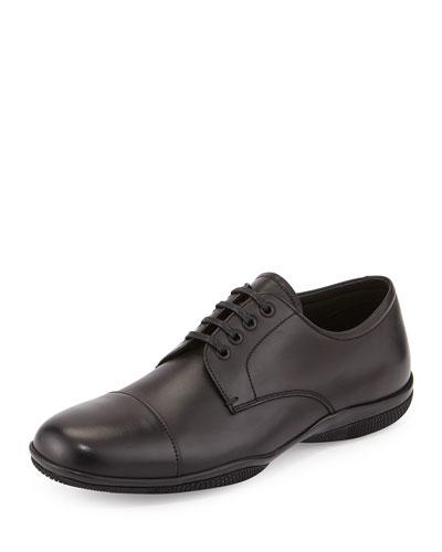 Cap-Toe Lace-Up Shoe, Black