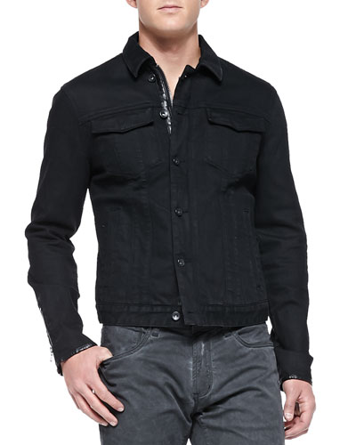 Denim Jacket with Contrast Leather Trim, Black