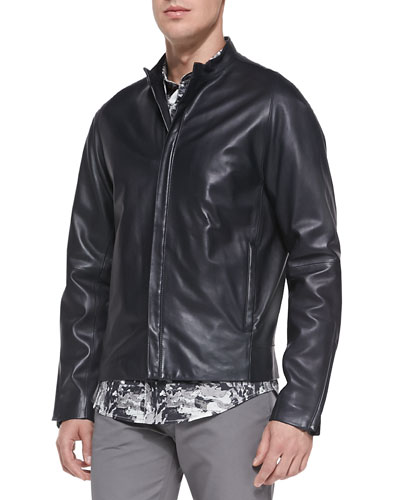Russo Leather Jacket, Dark Navy