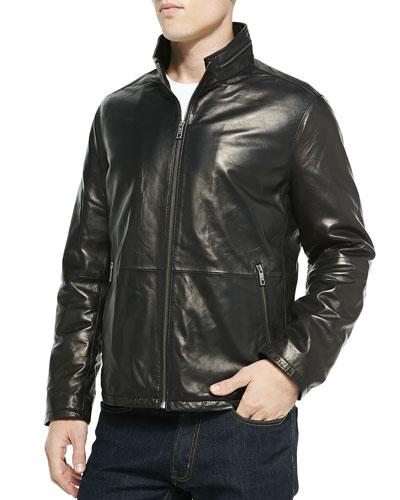 Glove Leather Zip-Front Jacket