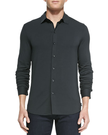 2ce01ad155e Armani Collezioni Stretch-Jersey Button-Down Shirt, Dark Gray
